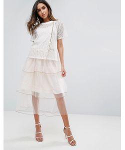 Amy Lynn | Кружевное Приталенное Платье С Ярусной Юбкой