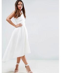 Asos | Приталенное Платье Миди На Одно Плечо С Удлиненным Кроем Сзади