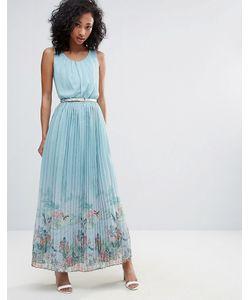 Uttam Boutique   Платье Макси С Плиссированной Юбкой И Принтом