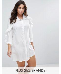 Boohoo Plus | Платье-Рубашка С Оборками На Рукавах