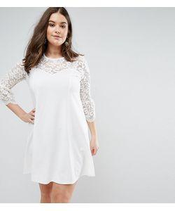 Praslin   Короткое Приталенное Платье С Кружевными Рукавами