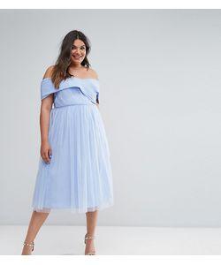 ASOS CURVE | Приталенное Платье Миди Из Тюля С Открытыми Плечами Wedding