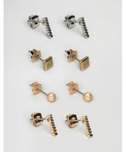 Icon Brand | Набор Из 4 Пар Сережек-Гвоздиков Золотистые/Серебристые