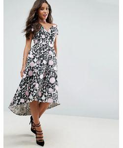 Asos | Платье Миди Для Выпускного С Открытыми Плечами И Цветочным Принтом