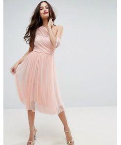 Asos | Сетчатое Платье Для Выпускного На Одно Плечо