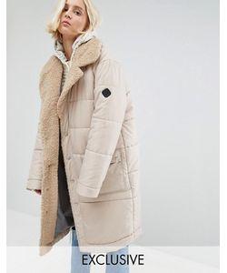 Puffa | Oversize-Пальто С Шалевым Воротником Из Искусственного Овечьего Меха