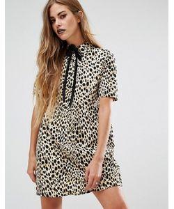Motel | Платье-Рубашка С Леопардовым Принтом И Завязкой У Горловины Metis