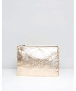 Asos | Кожаный Клатч Металлик На Молнии