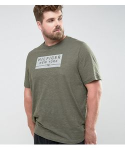 Tommy Hilfiger   Зеленая Меланжевая Футболка Классического Кроя С Логотипом Plus