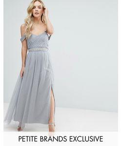 Little Mistress Petite | Платье Макси С Открытыми Плечами И Плиссированным Лифом