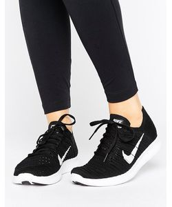 Nike | Трикотажные Черные Кроссовки Running Free Run Flyknit