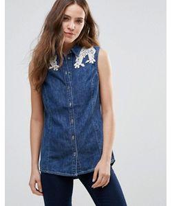 Vero Moda | Джинсовая Рубашка С Кружевной Отделкой На Плечах