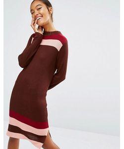 First & I | Вязаное Платье В Стиле Колор Блок С Полосками