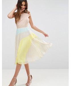 Asos | Плиссированное Платье Миди Колор Блок