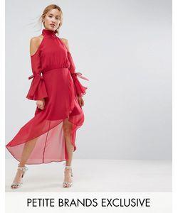 True Decadence Petite | Платье Миди Премиум-Класса С Вырезами На Плечах И Рукавами-Клеш True Decadence