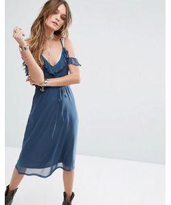 Glamorous | Платье На Бретельках С Открытыми Плечами И Оборкой