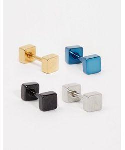 DesignB London | Набор Из 4 Квадратных Серег Designb