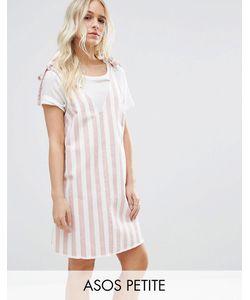ASOS PETITE | Джинсовое Платье В Бело-Розовую Полоску