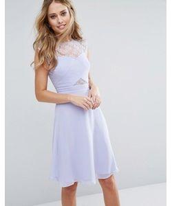 Elise Ryan | Платье Миди С Кружевным Топом И Перекрестным Дизайном