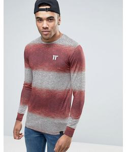 11 Degrees | Muscle Long Sleeve T-Shirt In Burgundy With Fleck