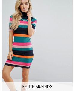 Noisy May Petite | Трикотажное Платье В Рубчик И Разноцветную Полоску