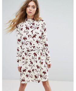 Ganni   Платье-Рубашка Из Крепа С Принтом Maxwell