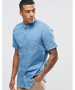 New Look | Джинсовая Рубашка Классического Кроя С Мелким Принтом