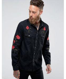 Asos | Свободная Джинсовая Рубашка С Цветочной Вышивкой И Заклепками