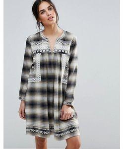 d.Ra | Клетчатое Платье С Вышивкой На Кокетке Shia