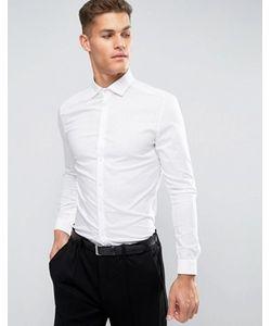 Asos | Эластичная Приталенная Рубашка Со Срезанным Воротником И Двойными Манжетами