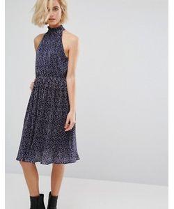 J.O.A | Плиссированное Платье Миди С Принтом