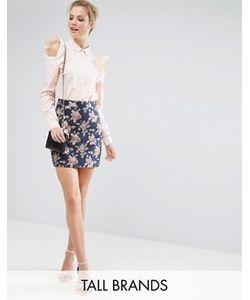Fashion Union Tall | Жаккардовая Мини-Юбка С Цветочным Рисунком