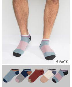 Asos   Набор Из 5 Пар Спортивных Носков Колор Блок