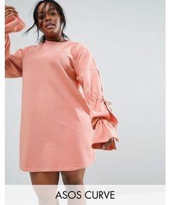 ASOS CURVE | Трикотажное Платье С Завязками На Рукавах