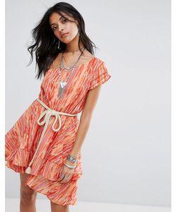 Free People | Многоярусное Платье Мини На Одно Плечо Heart Shaped Face
