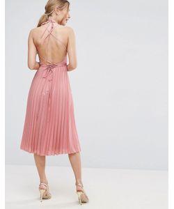 Asos | Плиссированное Платье Миди С Запахом