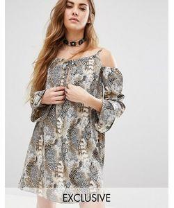 Reclaimed Vintage | Платье С Открытыми Плечами И Животным Принтом