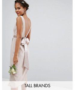 TFNC Tall | Платье Миди С Запахом И Бантом Сзади Wedding