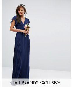 TFNC Tall | Платье Макси С V-Образным Вырезом И Рукавами Рюшами Wedding