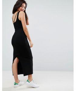 Asos | Платье Макси В Рубчик С Открытой Спиной На Бретельках