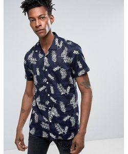Minimum | Темно-Синяя Узкая Рубашка С Короткими Рукавами И Гавайским Принтом Maceo