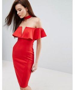 Rare | Платье-Футляр С Чокером Широким Вырезом И Оборкой London