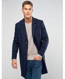 Asos | Темно-Синее Полушерстяное Пальто