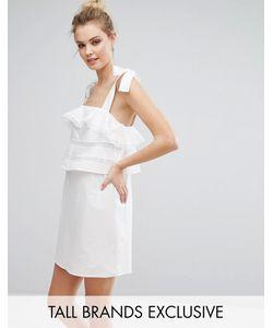 Fashion Union Tall | Платье На Тонких Бретельках-Завязках С Оборками