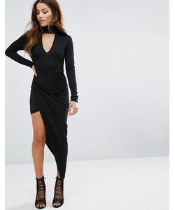 Club L | Асимметричное Платье С Лентой На Горловине