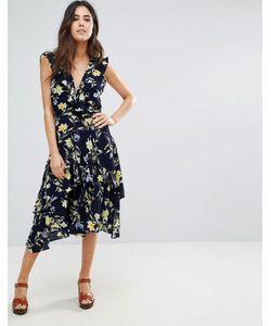 Louche | Платье Миди С Запахом Спереди И Оборками Swoosie