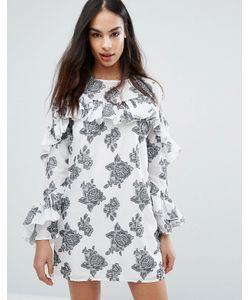 MISSGUIDED | Платье С Розами И Оборкой