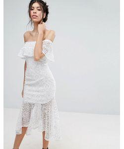 Love Triangle | Кружевное Платье Миди С Открытыми Плечами И Баской