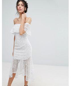 Love Triangle | Lace Bardot Midi Dress With Peplum Hem