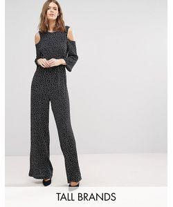 Y.A.S Tall | Abby Cold Shoulder Jumpsuit In Polka Print